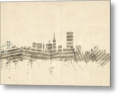 San Francisco Skyline Sheet Music Cityscape Metal Print