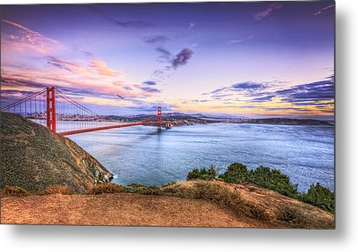 San Francisco Sunset And The Golden Gate Bridge From Marin Headlands 2 Metal Print