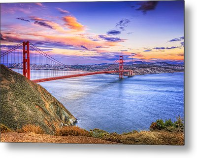 San Francisco Sunset And The Golden Gate Bridge From Marin Headlands Metal Print
