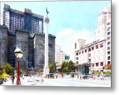San Francisco Union Square 5d17933wcstyle Metal Print by Wingsdomain Art and Photography