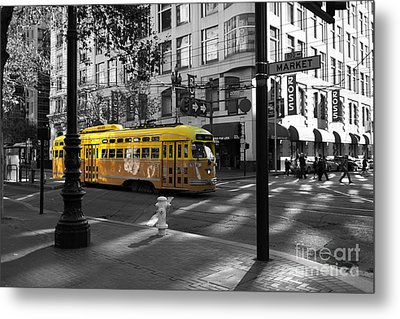 San Francisco Vintage Streetcar On Market Street - 5d19798 - Black And White And Yellow Metal Print by Wingsdomain Art and Photography