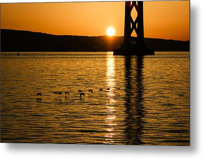 Metal Print featuring the photograph San Francisco Bay Bridge Sunrise by Georgia Mizuleva