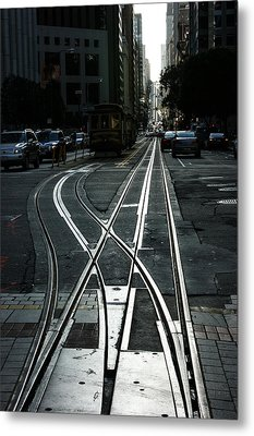 Metal Print featuring the photograph San Francisco Silver Cable Car Tracks by Georgia Mizuleva