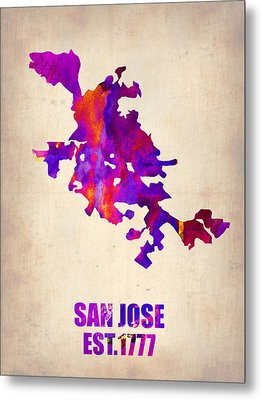 San Jose Watercolor Map Metal Print by Naxart Studio