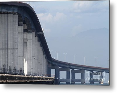 San Mateo Bridge In The California Bay Area 7d21914 Metal Print by Wingsdomain Art and Photography