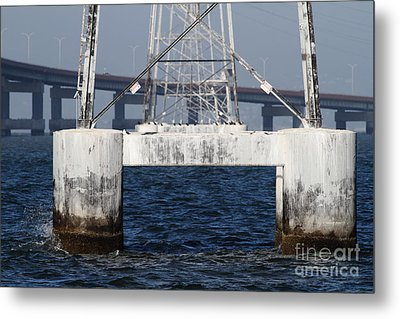 San Mateo Bridge In The California Bay Area 7d21943 Metal Print by Wingsdomain Art and Photography