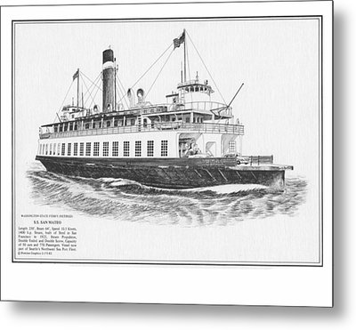 Washington State Ferry San Mateo Metal Print