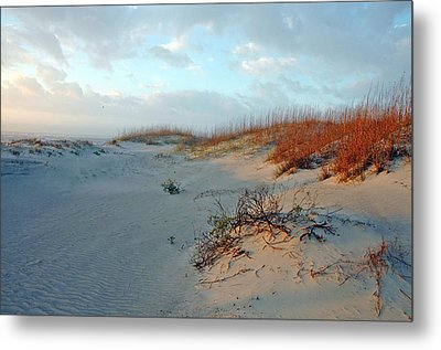Sand Dune On Tybee Island Metal Print by Allen Carroll