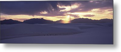 Sand Dunes In A Desert At Dusk, White Metal Print by Panoramic Images