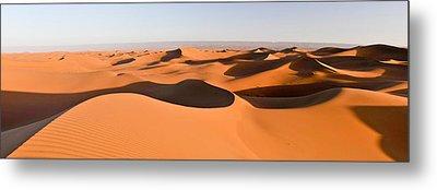 Sand Dunes In A Desert, Erg Chigaga Metal Print