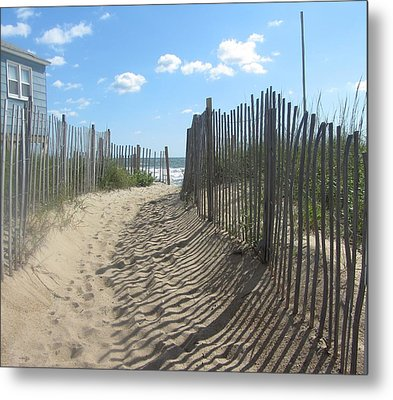 Sand Fence At Southern Shores  Metal Print