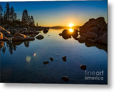 Sand Harbor Sunset Metal Print by Jamie Pham