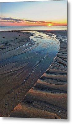 Sand Patterns At Sunset On Bound Brook Metal Print