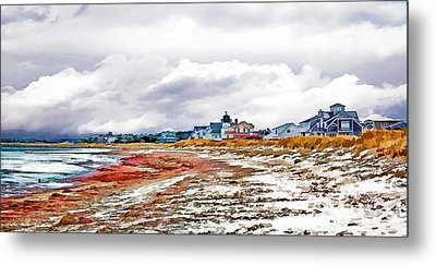 Metal Print featuring the photograph Sand Snow And Seaweed Photo Art by Constantine Gregory