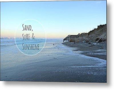 Sand Surf Sunshine Metal Print by Robin Dickinson