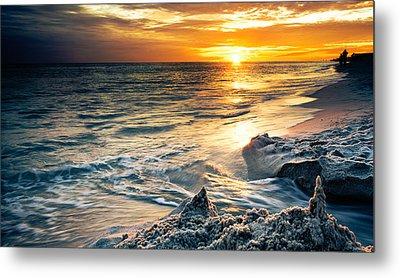Metal Print featuring the photograph Sandcastle Sunset Beach-destin Florida Orange Sea Shore Art by Eszra