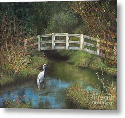 Sandhill Crane At Spring Creek Metal Print by Jeanette French