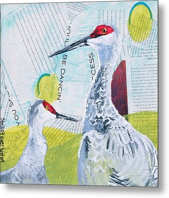 Sandhill Cranes Metal Print by Shelley Overton