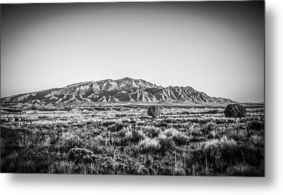 Sandia Mountains In Black And White Metal Print
