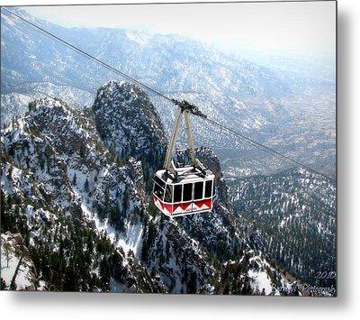 Sandia Tram Above The Snowy Peaks Metal Print