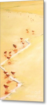 Sandpiper Promenage Metal Print by Mary Hubley