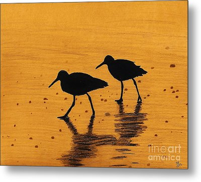 Sandpipers - At - Sunrise Metal Print