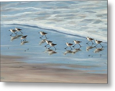 Sandpipers Metal Print by Tina Obrien