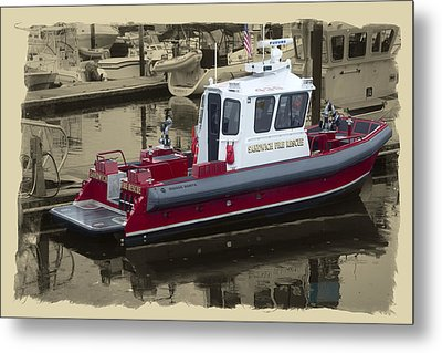 Sandwich Cape Cod Fire Rescue Boat Metal Print by Constantine Gregory