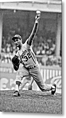 Sandy Koufax Throwing The Ball Metal Print