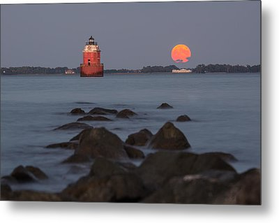 Metal Print featuring the photograph Sandy Point Lighthouse Moonrise by Jennifer Casey