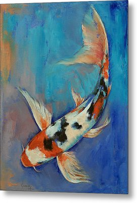 Sanke Butterfly Koi Metal Print by Michael Creese