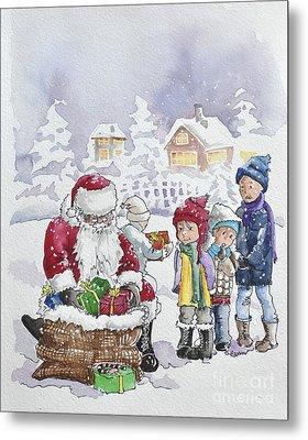 Santa And Children Metal Print