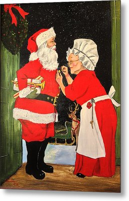 Santa And Mrs Metal Print
