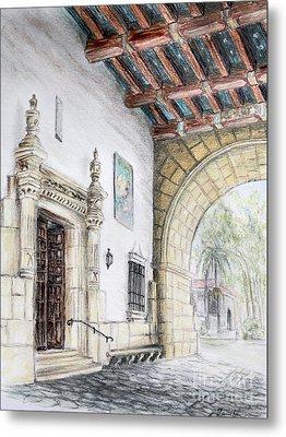 Santa Barbara Courthouse Arch Metal Print