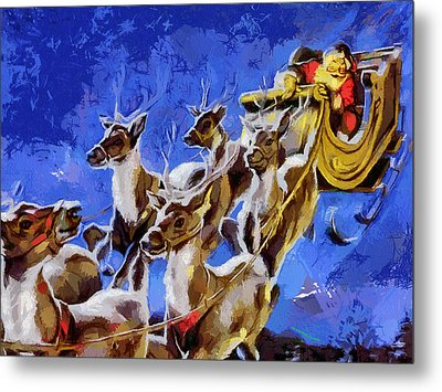 Santa Claus And Reindeer Metal Print