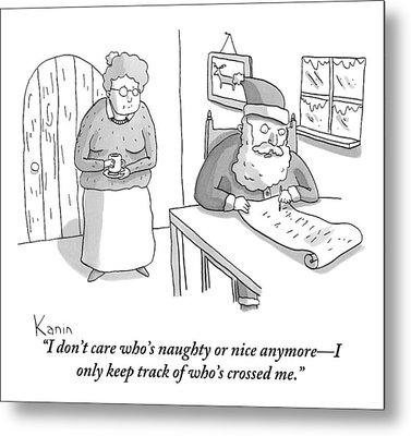 Santa Claus Angrily Crosses Off Names Metal Print