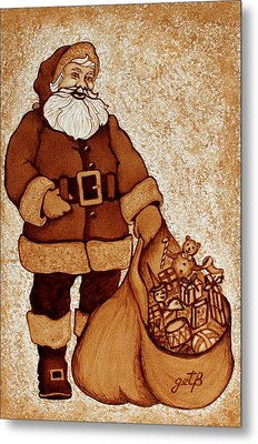 Metal Print featuring the painting Santa Claus Bag by Georgeta  Blanaru