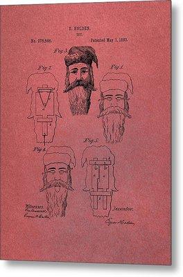 Santa Claus Mask Patent Red Metal Print by Dan Sproul