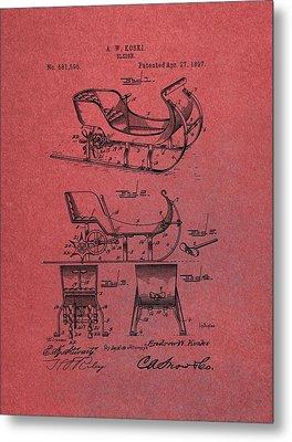 Santa Claus Sleigh Patent Red Metal Print by Dan Sproul