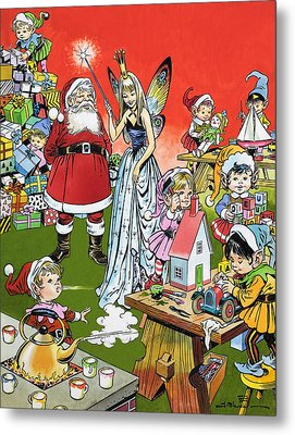Santa Claus Toy Factory Metal Print