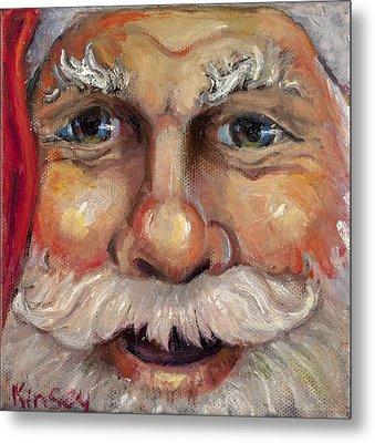 Santa Closeup Metal Print by Sheila Kinsey
