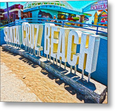 Santa Cruz Boardwalk Sign Metal Print by Gregory Dyer