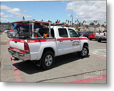Santa Cruz Fire Department Lifeguard Truck On The Municipal Wharf At Santa Cruz Beach Boardwalk Cali Metal Print by Wingsdomain Art and Photography