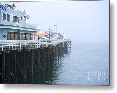 Santa Cruz Pier In The Fog Metal Print by Artist and Photographer Laura Wrede