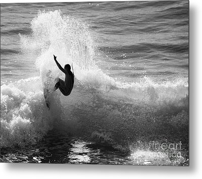 Santa Cruz Surfer Black And White Metal Print by Paul Topp