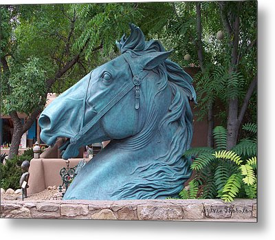 Santa Fe Big Blue Horse Metal Print by Sylvia Thornton