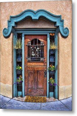 Santa Fe Blue Door Metal Print by Sylvia Thornton