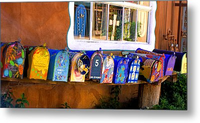 Santa Fe Mailboxes Metal Print by Wendell Thompson