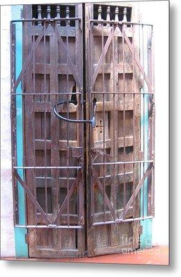 Metal Print featuring the photograph Santa Fe Old Door by Dora Sofia Caputo Photographic Art and Design