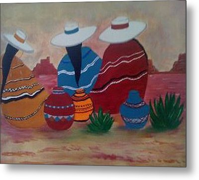 Santa Fe Women Metal Print by Judi Goodwin